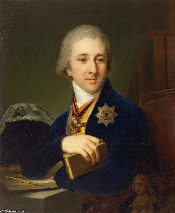 Portrait of the author Alexander Labsin, 1805 by Vladimir Lukich Borovikovsky (1757-1825) | Museum Art Reproductions | ArtsDot.com