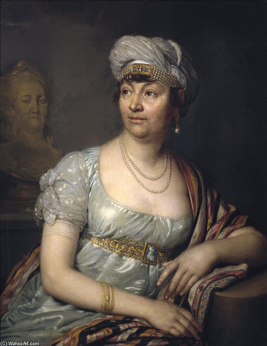 Portrait of Germaine de Stael, Oil On Canvas by Vladimir Lukich Borovikovsky (1757-1825)