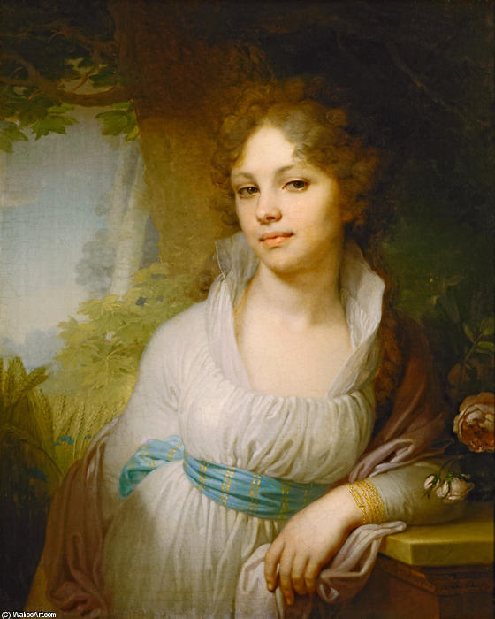 Portrait of M.I.Lopukhina, Oil On Canvas by Vladimir Lukich Borovikovsky (1757-1825)