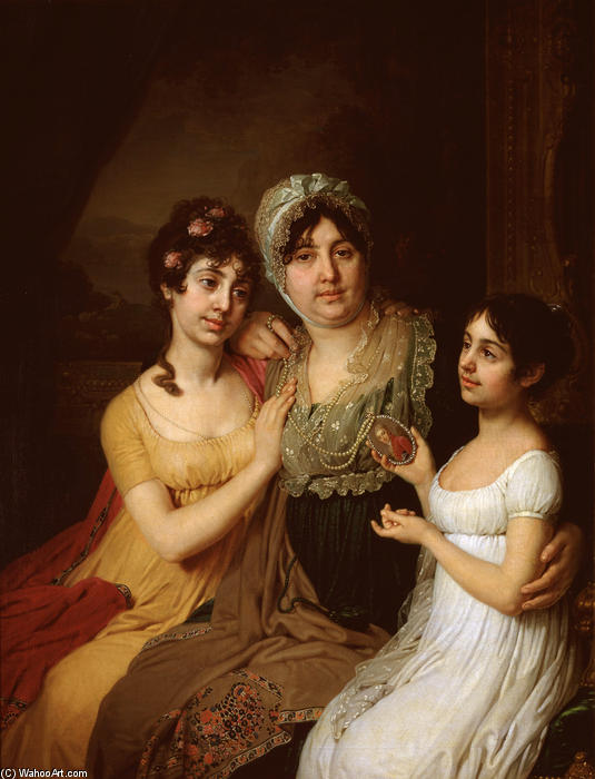 Portrait of A.I. Bezborodko with daughters, 1803 by Vladimir Lukich Borovikovsky (1757-1825) | ArtsDot.com