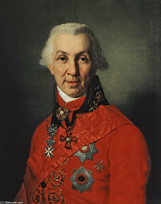 Portrait of Gavrila Romanovich Derzhavin, Oil On Canvas by Vladimir Lukich Borovikovsky (1757-1825)