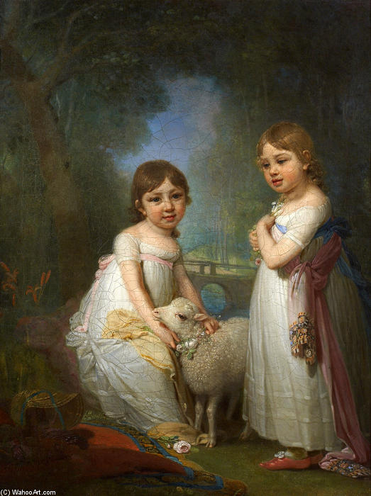 Children with a Lamb by Vladimir Lukich Borovikovsky (1757-1825)