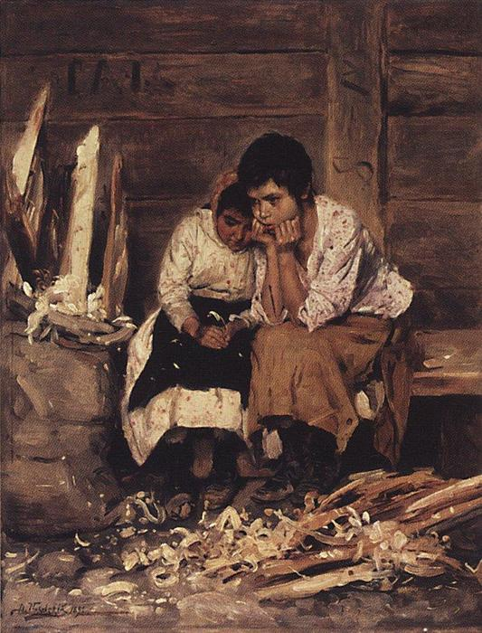 Over the chips, 1892 by Vladimir Yegorovich Makovsky (1846-1920, Russia) | Painting Copy | ArtsDot.com