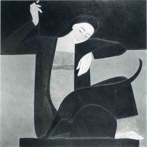 Will Barnet - Woman, Cat and String