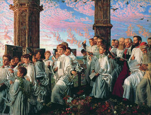 William Holman Hunt - May Morning on Magdalen C..
