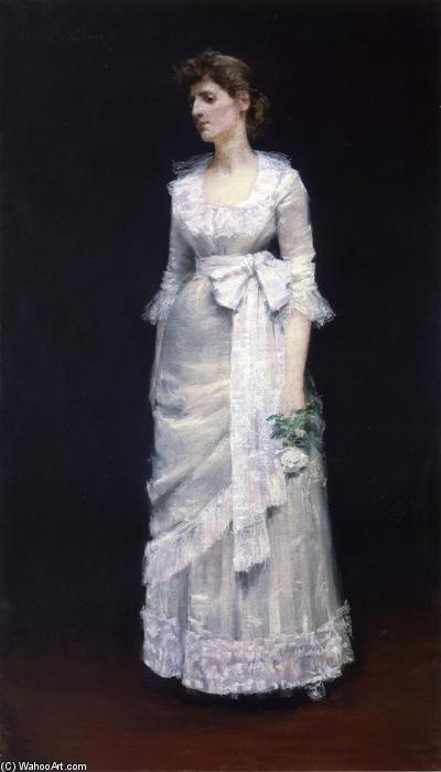 Lady in White Gown, Pastel by William Merritt Chase (1849-1916, United States)