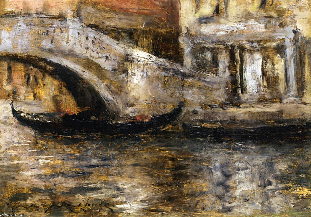 Gondolas along Venetian Canal (aka Gondola in Venice), Oil On Panel by William Merritt Chase (1849-1916, United States)