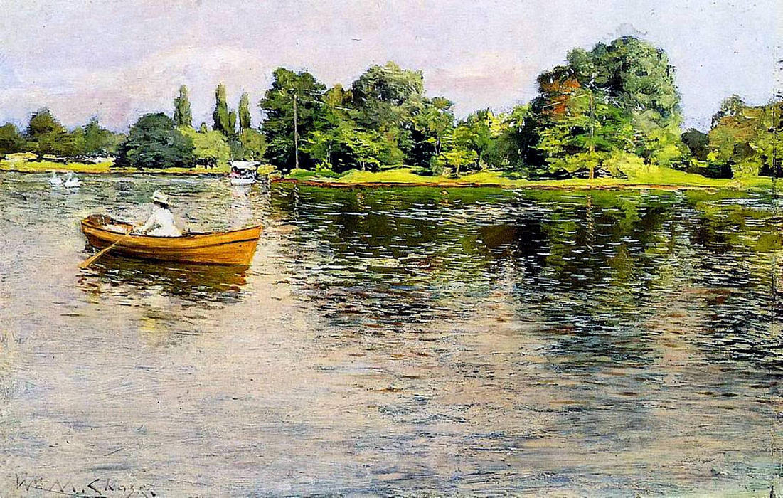 Summertime (Pulling for Shore), Oil On Panel by William Merritt Chase (1849-1916, United States)