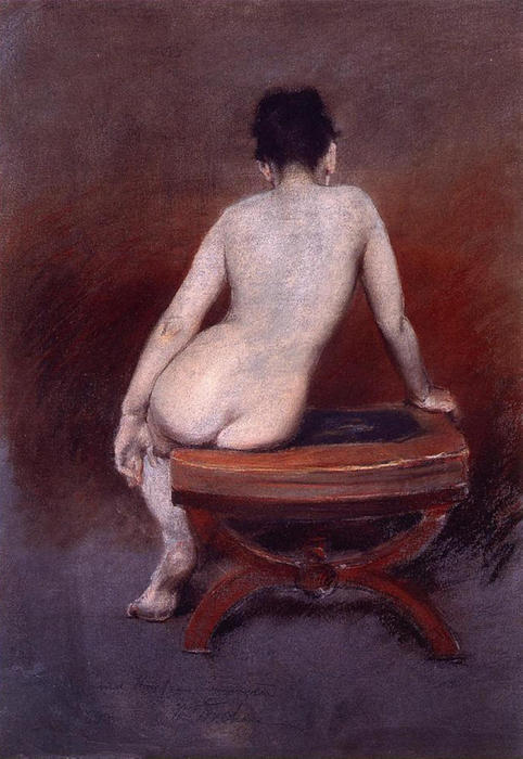 Back of a Nude, Pastel by William Merritt Chase (1849-1916, United States)