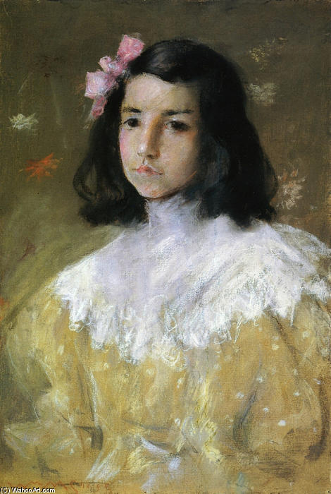 The Pink Bow, Pastel by William Merritt Chase (1849-1916, United States)