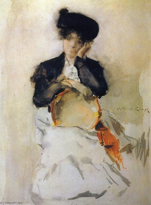 Girl with Tambourine, Watercolour by William Merritt Chase (1849-1916, United States)