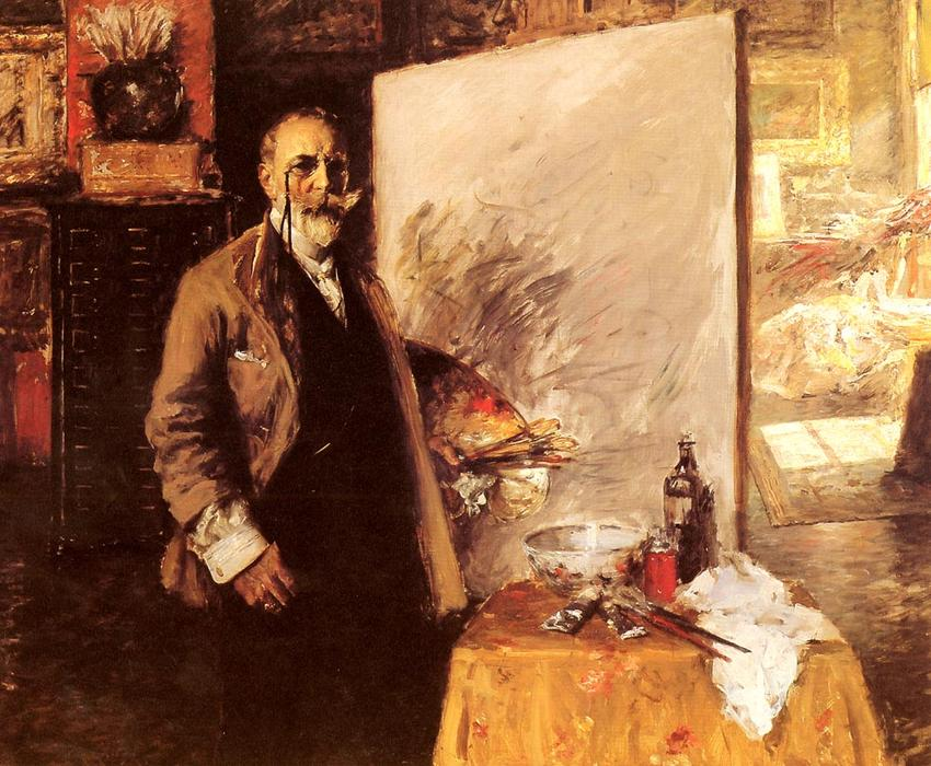 Self Portrait, Pastel by William Merritt Chase (1849-1916, United States)