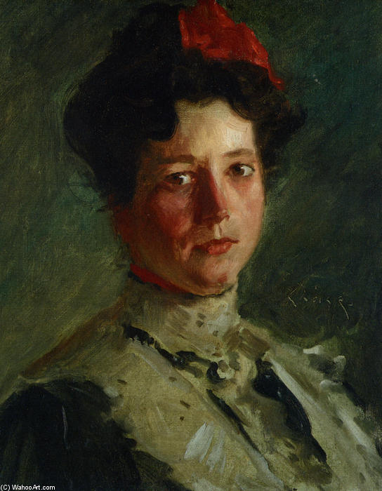 Portrait of Martha Walter, Oil On Canvas by William Merritt Chase (1849-1916, United States)