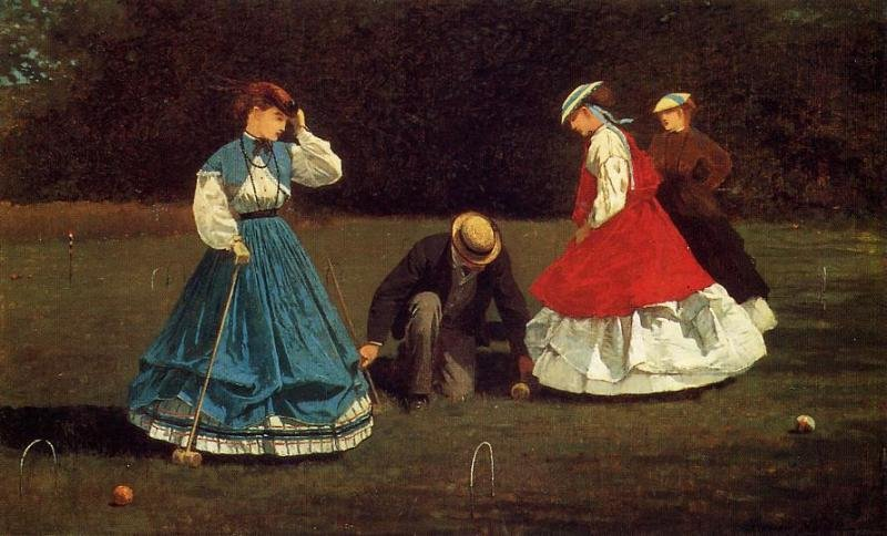 Croquet Scene, 1864 by Winslow Homer (1836-1910, United States) | Painting Copy | ArtsDot.com