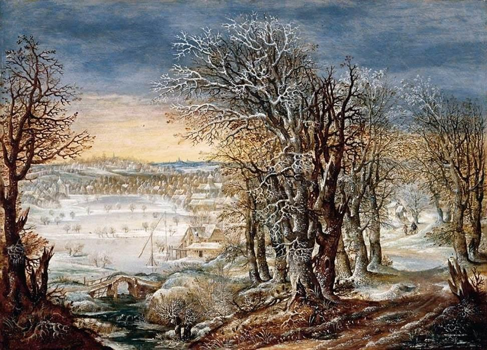 Winter Landscape in the Fôret de Soignes, with the Flight Into Egypt, Oil On Panel by Denis Van Alsloot (1570-1626, Belgium)