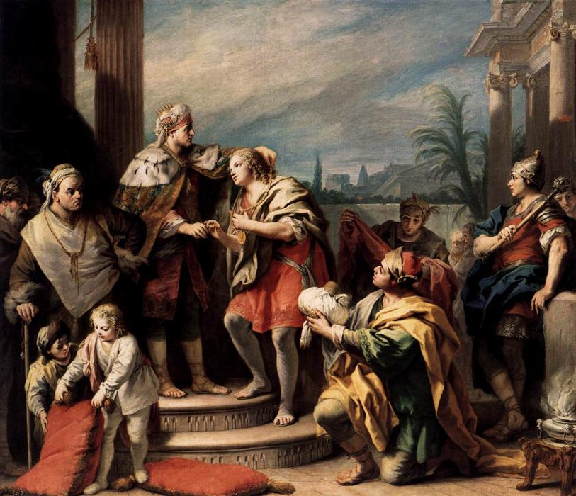 Joseph in the Pharaoh`s Palace by Jacopo Amigoni (1682-1752, Italy) | Paintings Reproductions Jacopo Amigoni | ArtsDot.com