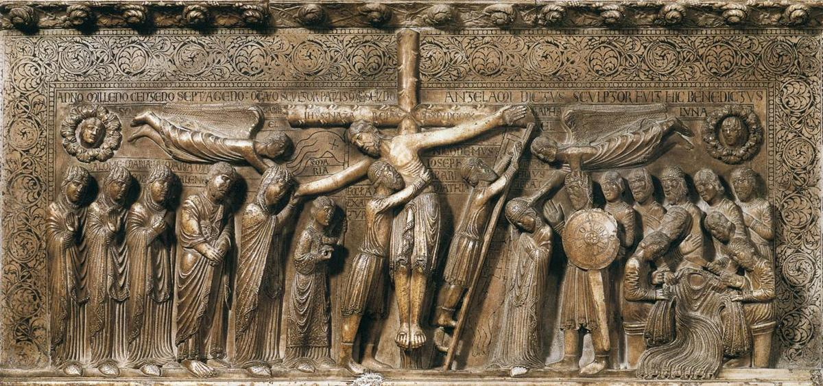 Descent from the Cross, Marble by Benedetto Antelami (1150-1230, Italy)