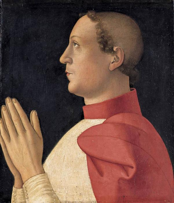 Profile Portrait of Cardinal Philippe de Lévis, 1475 by Antoniazzo Romano (1430-1508, Italy) | Museum Quality Reproductions | ArtsDot.com