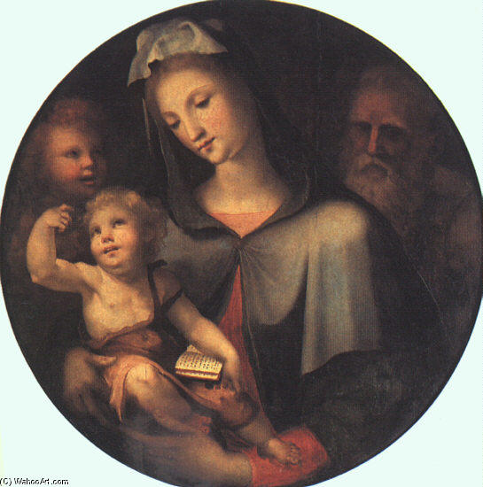 The Holy Family with Young Saint John, Oil On Panel by Domenico Di Pace Beccafumi (1486-1551, Italy)