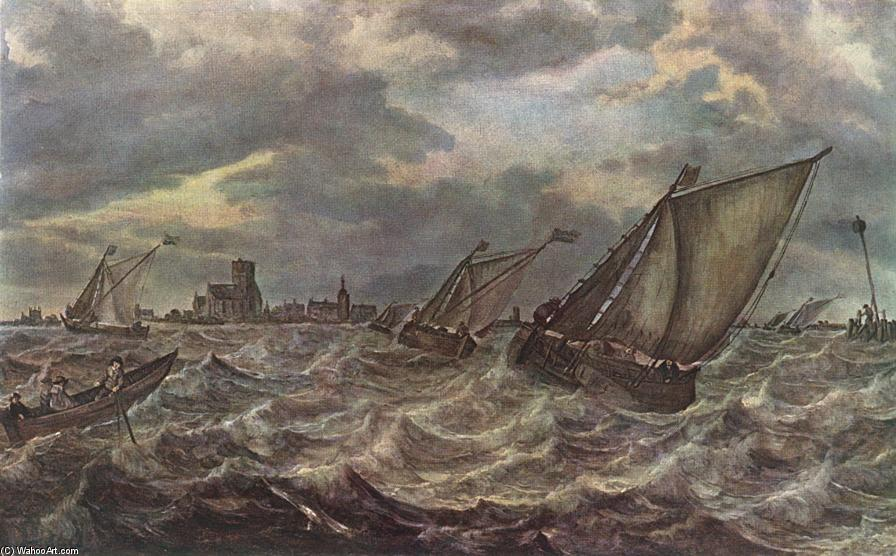 Order Art Reproduction : Rough Sea by Abraham Hendriksz Van Beijeren (1620-1690, Netherlands) | ArtsDot.com