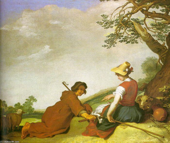 Shepherd and Sherpherdess, Oil On Canvas by Abraham Bloemaert (1564-1651, Netherlands)