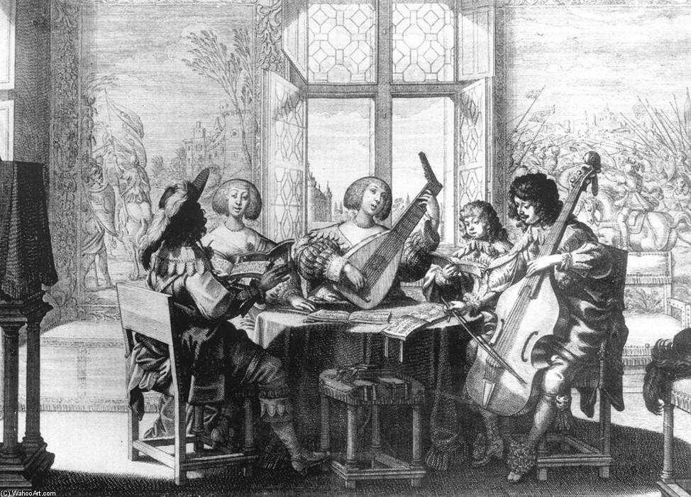 Musical Society, Engraving by Abraham Bosse (1603-1676, France)