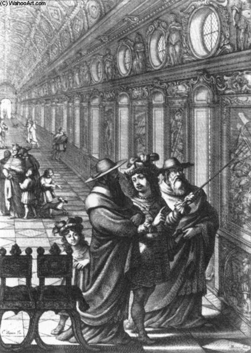 Roger Showing a Gallery of Paintings to Several Cardinals, Engraving by Abraham Bosse (1603-1676, France)