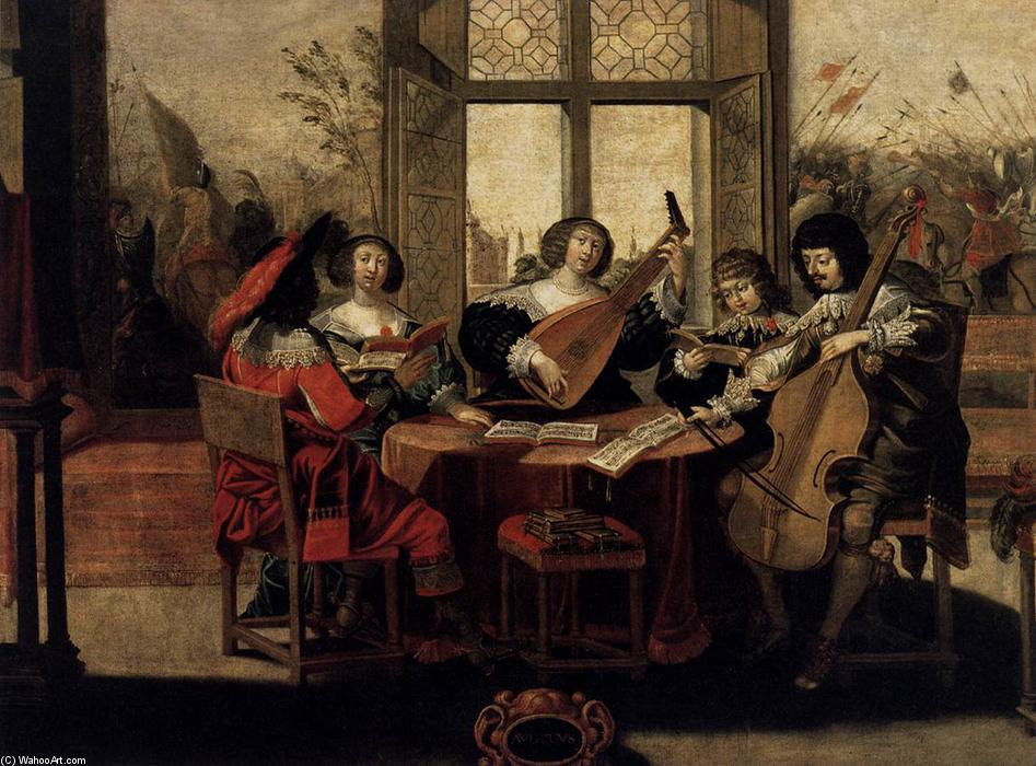 The Five Senses: Hearing, Oil On Canvas by Abraham Bosse (1604-1676, France)