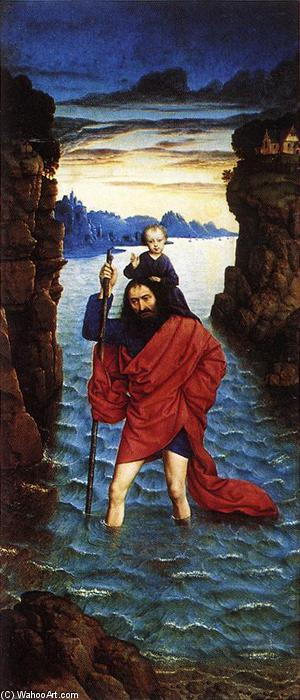 Saint Christopher, Oil by Dieric The Younger Bouts (1448-1491, Belgium)