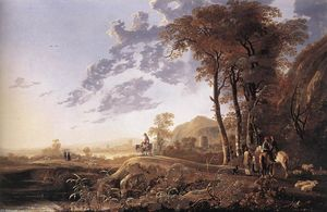 Aelbert Jacobsz Cuyp - Evening Landscape with Ho..
