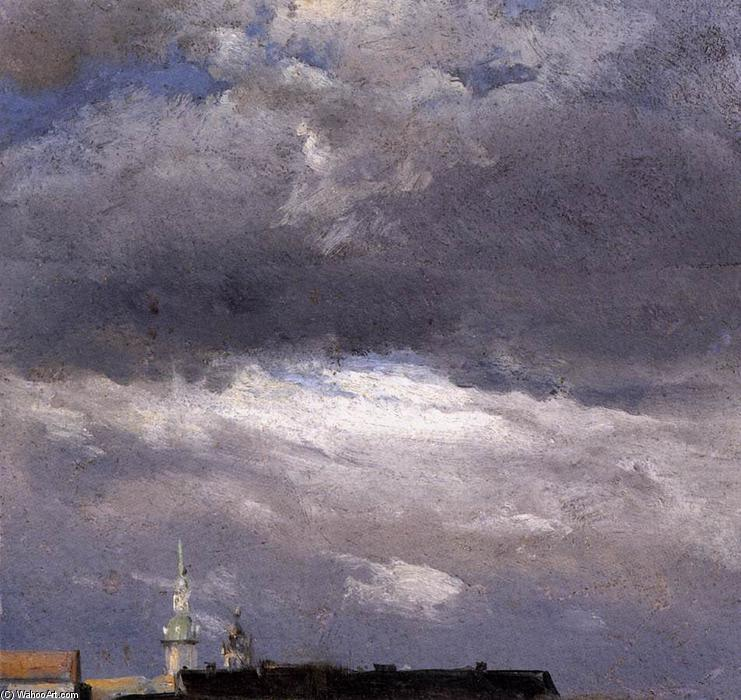 Cloud Study, Thunder Clouds over the Palace Tower at Dresden, Oil by Johan Christian Clausen Dahl (1788-1857, Norway)