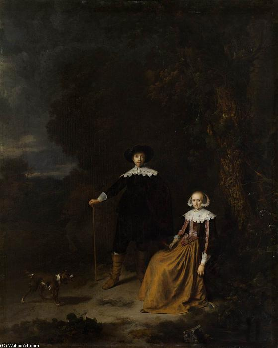 Portrait of a Couple in a Landscape, Oil On Panel by Gerrit (Gérard) Dou (1613-1675, Netherlands)