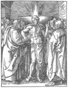 Albrecht Durer - Small Passion: 33. The Incredulity of St Thomas