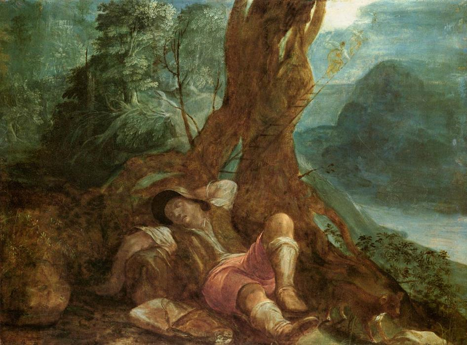 Jacob's Dream, Oil On Copper by Adam Elsheimer (1578-1610, Germany)
