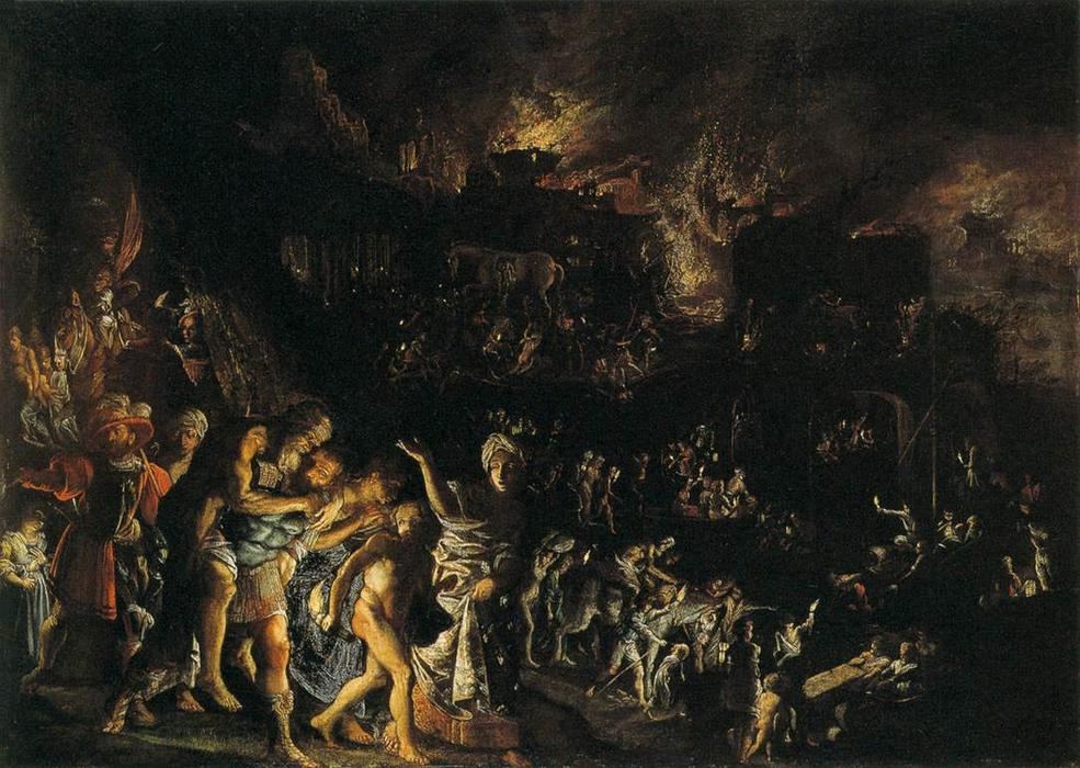 The Burning of Troy, Oil On Copper by Adam Elsheimer (1578-1610, Germany)