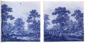 Frederik Van Frytom - Two plaques with a landscape