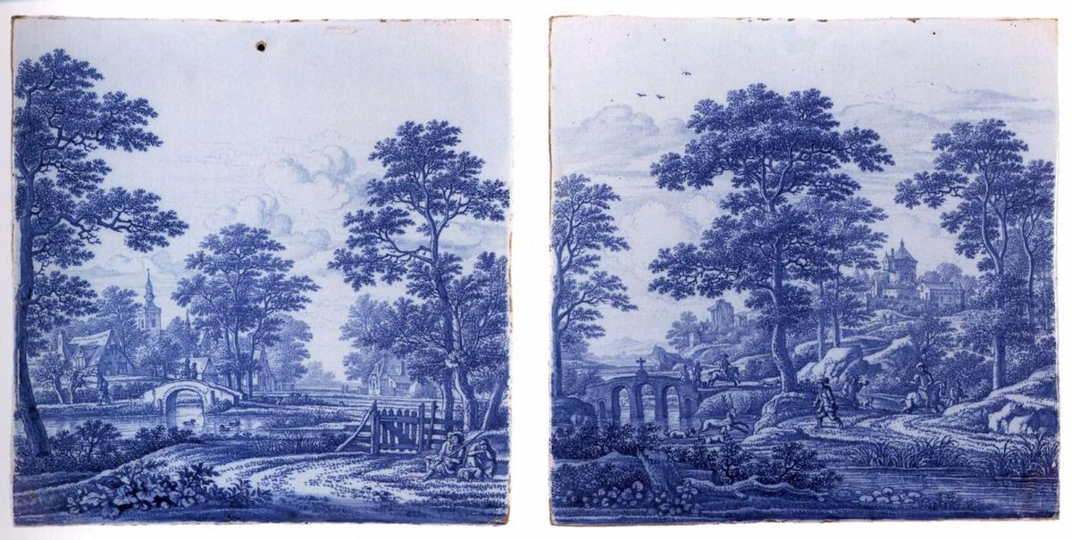 Two plaques with a landscape, 1690 by Frederik Van Frytom (1630-1702, Netherlands)