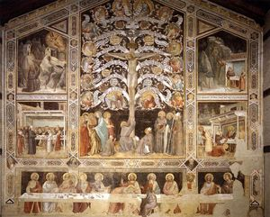 Taddeo Gaddi - Last Supper, Tree of Life and Four Miracle Scenes