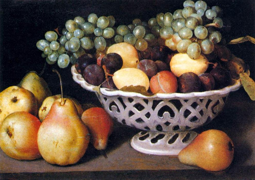 Maiolica Basket of Fruit, Oil On Canvas by Fede Galizia (1578-1630, Italy)