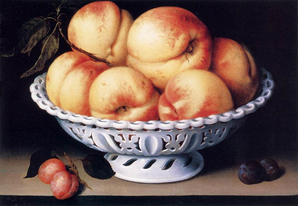 White Ceramic Bowl with Peaches and Red and Blue Plums, Oil On Panel by Fede Galizia (1578-1630, Italy)