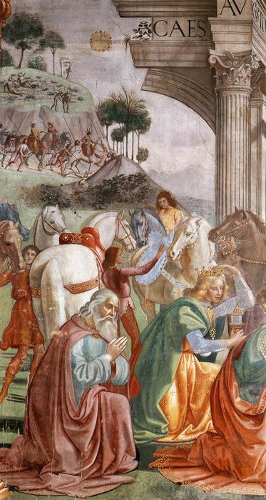 Adoration of the Magi (detail), Frescoes by Domenico Ghirlandaio (1449-1494, Italy)