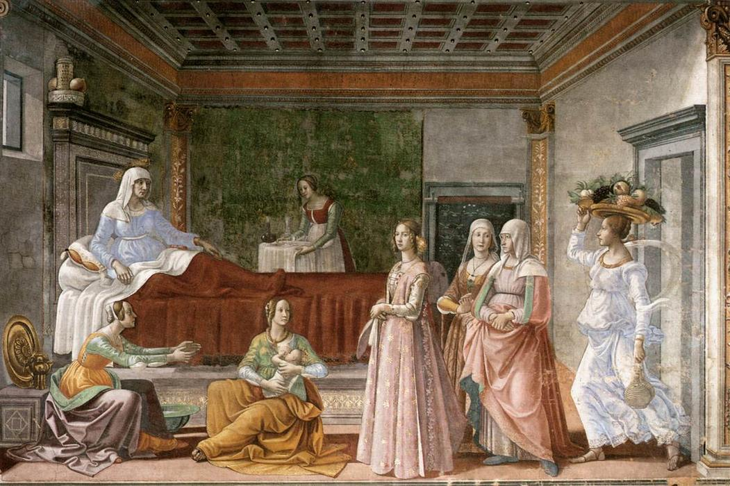 Birth of St John the Baptist, Frescoes by Domenico Ghirlandaio (1449-1494, Italy)