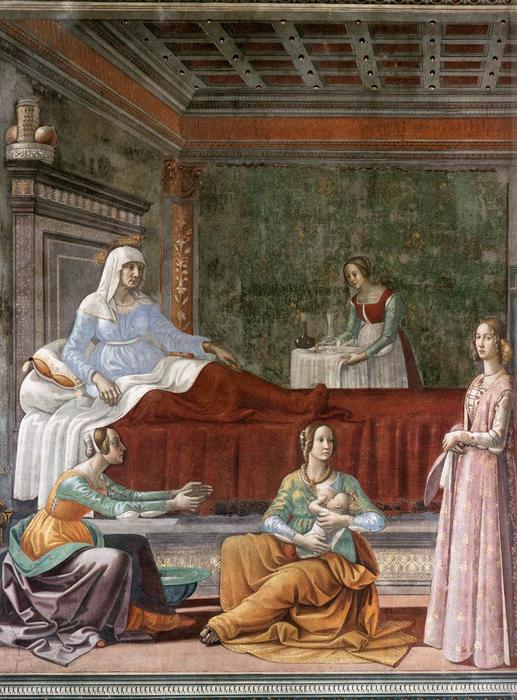 Birth of St John the Baptist (detail), Frescoes by Domenico Ghirlandaio (1449-1494, Italy)