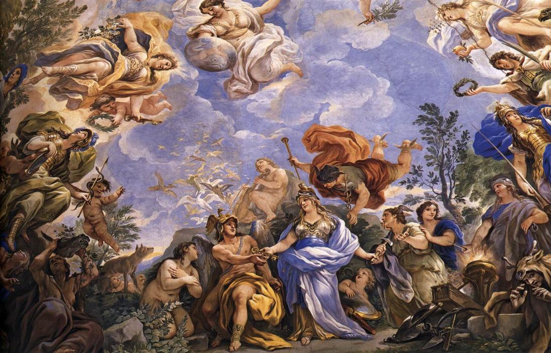 Ceiling decoration of the Gallery (detail), Frescoes by Luca Giordano (1634-1705, Italy)