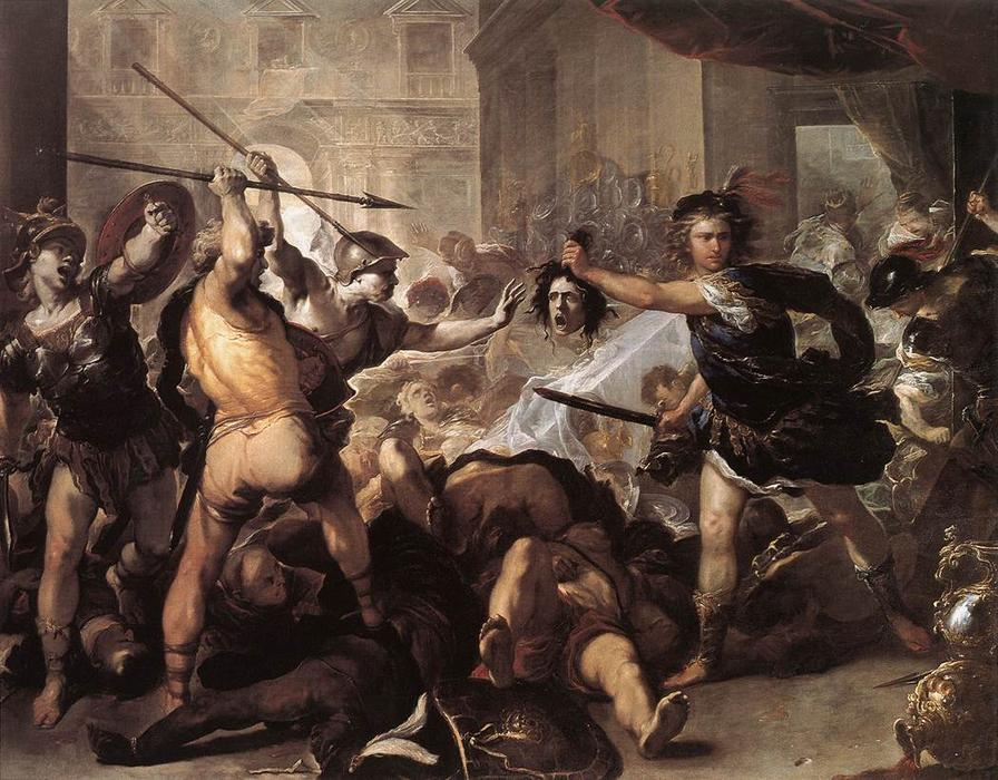 Perseus Fighting Phineus and his Companions, Oil On Canvas by Luca Giordano (1634-1705, Italy)