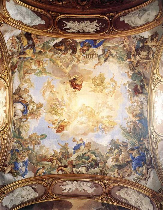 Triumph of Judith, Frescoes by Luca Giordano (1634-1705, Italy)