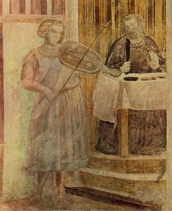Giotto Di Bondone - Scenes from the Life of St John the Baptist: 3. Feast of Herod (detail)