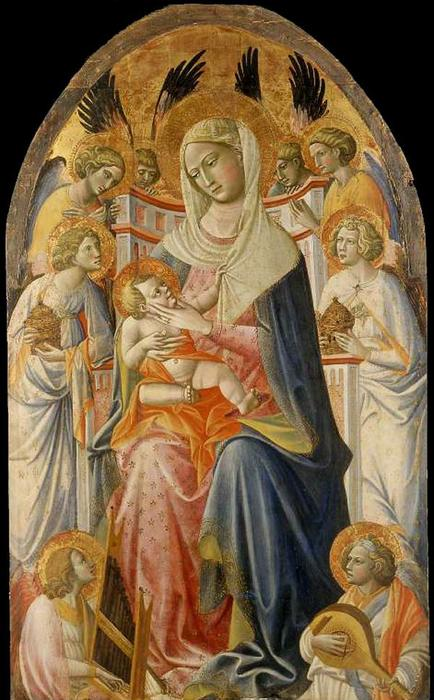 Virgin and Child with Angels, Tempera by Giovanni Dal Ponte (1385-1438, Italy)