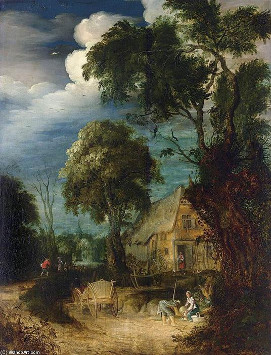 Wooded Landscape, Oil On Panel by Abraham Govaerts (1589-1626, Belgium)
