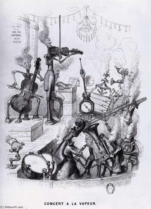 Steam Concert, Engraving by Jean Jacques Grandville (1803-1847, France)